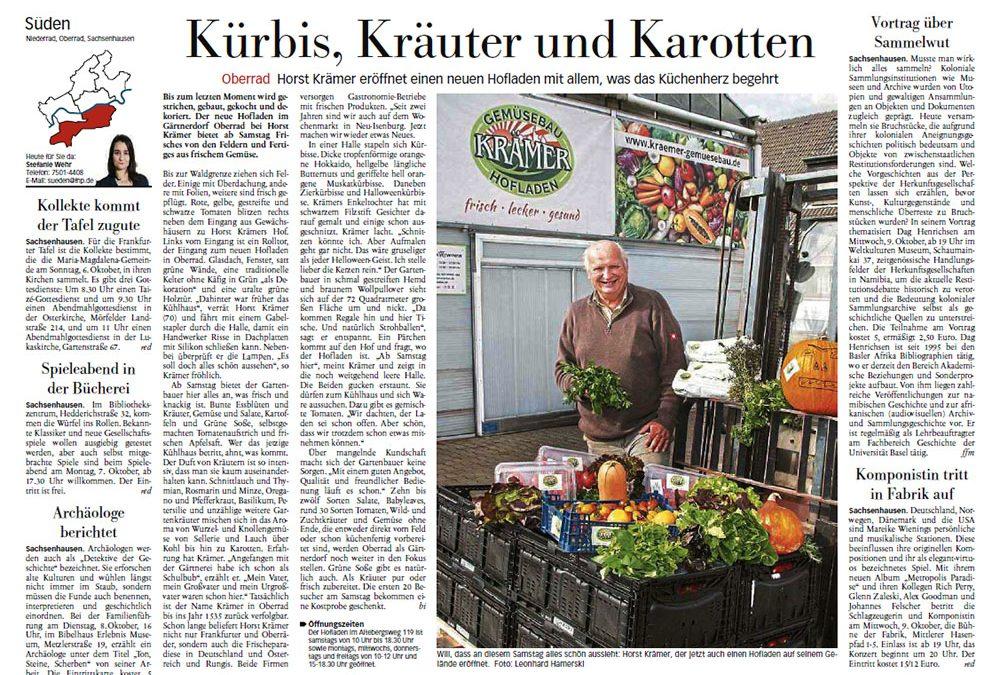 Krämer in der Frankfurter Neue Presse