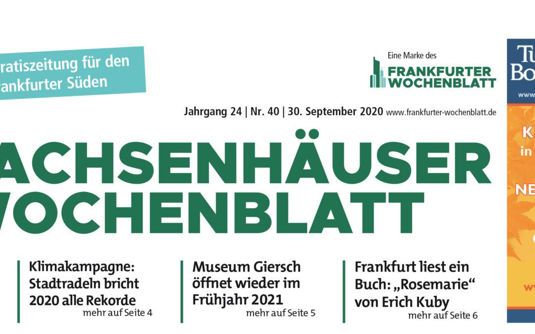 Artikel im Sachsenhäuser Wochenblatt, 30.09.2020